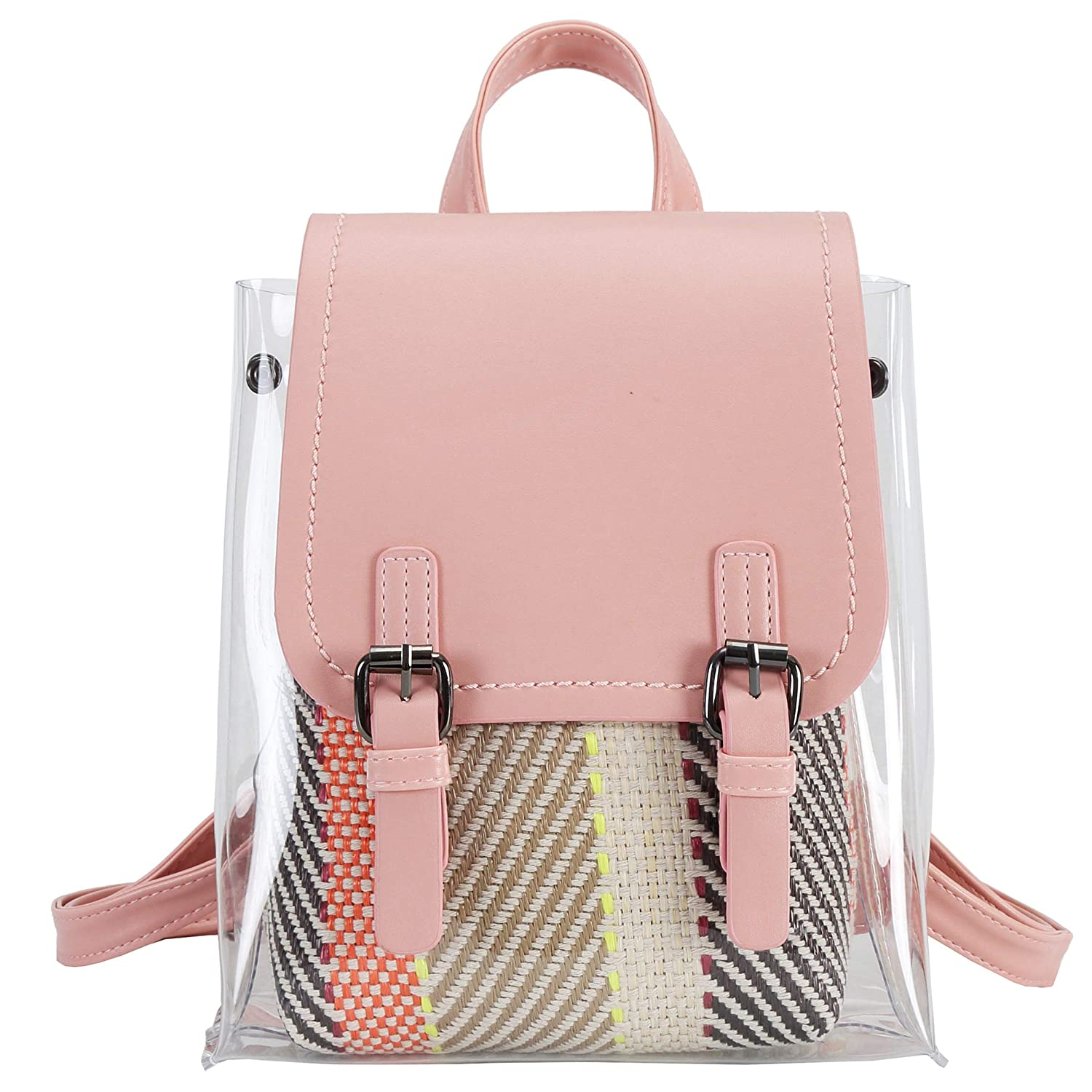 1bf314ca45 Made of transparent PVC & PU leather, soft and durable, waterproof and clear.  Clear 2-in-1 Bag Designed with comfortable and reinforced top-hand, ...