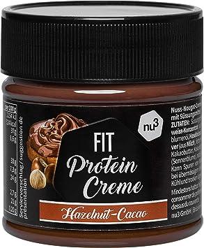 nu3 Fit Protein Creme - 200g Crema de chocolate y avellanas - Sin aceite de palma ni gluten - 90% menos azúcar - 21% de proteína - Excelente ...