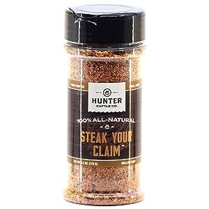 HUNTER CATTLE CO. EST'D 2004 HC Steak Your Claim – Gourmet Steakhouse Seasoning - 6.2 Ounce Shaker Jar- Perfect Steak Seasoning for the BBQ Grill