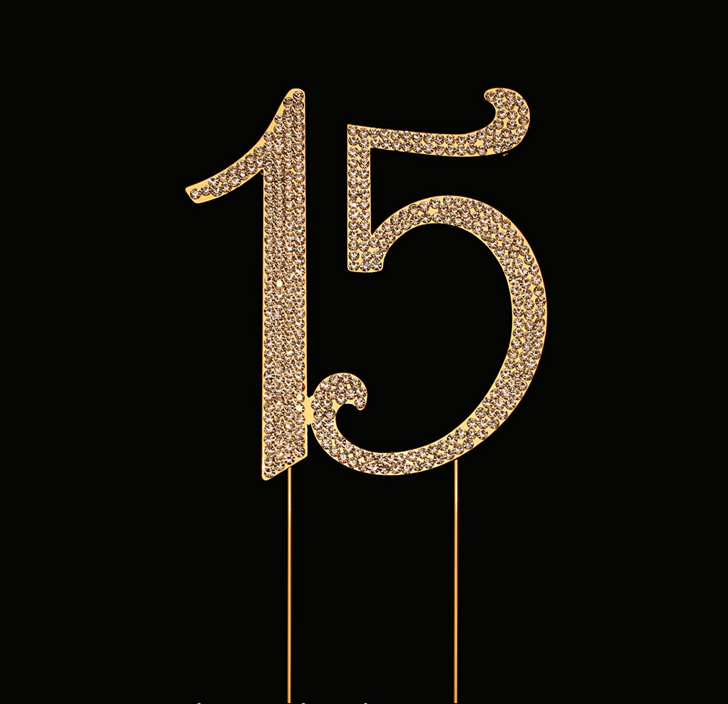 Number 15 for 15th Birthday Cake Topper, 15th Anniversary Cake Topper, 15th Birthday Party Decorations, Joint Gold, 4.5 Inches Tall COMIN18JU083896