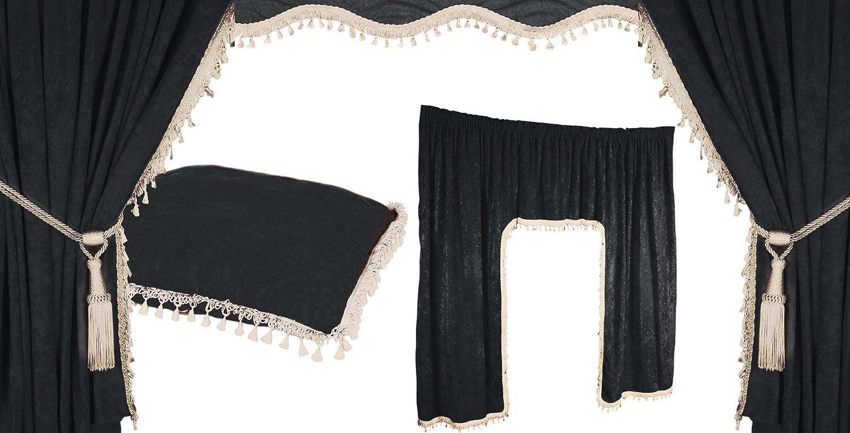 Warenhandel König - Juego de cortinas para camión, 5 unidades, color negro y blanco
