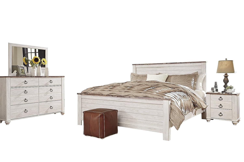 Amazon.com: Ashley Willowton 4PC Queen Panel Bedroom Set In White ...