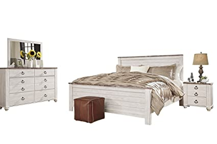 Amazon.com: Ashley Willowton 4PC E King Panel Bedroom Set In White ...