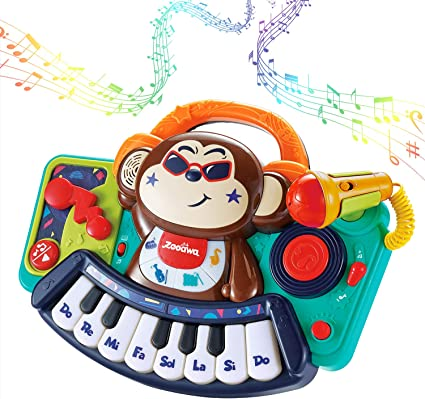 VATOS Kids Piano Toy,Multifunction Interactive Toddler Piano Keyboard with Microphone DJ Mixer Lights Baby Piano Musical Toys for Toddler 2 3 4 5 6 Years Old Girls and Boys Gift
