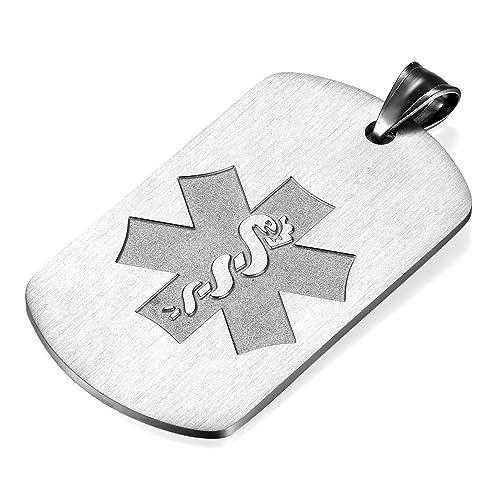 Flongo Placa Alerta Medica Cruz, Collar de identificación ...