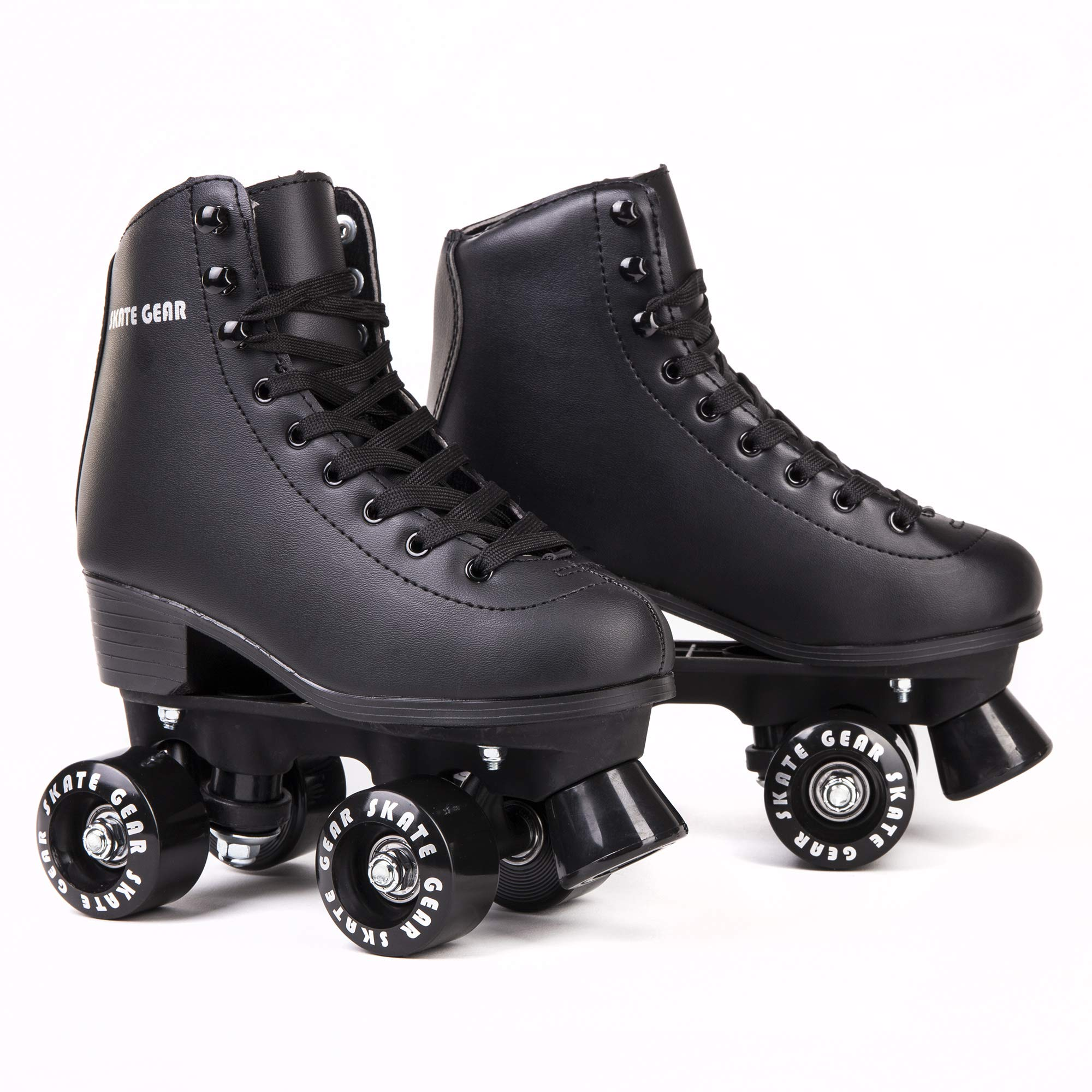 Cal 7 Roller Skates for Indoor & Outdoor Skating, Faux Leather Boot with Quad Design, Ankle Support Frame, Adults & Kids (Black, Youth 1)