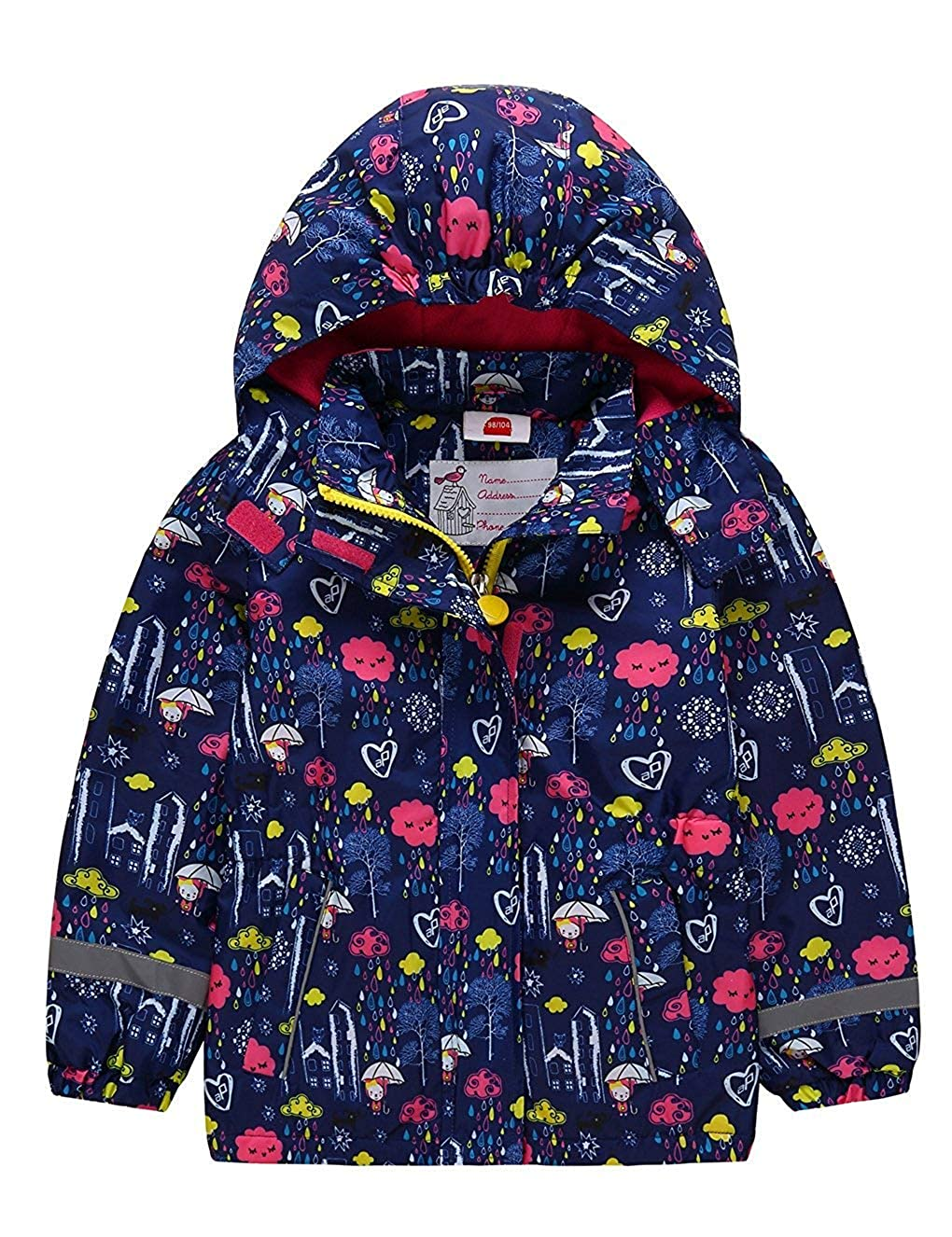 Girls Waterproof Hooded Fall Winter Camping Jacket Raincoat Fleece Windbreaker Outwear