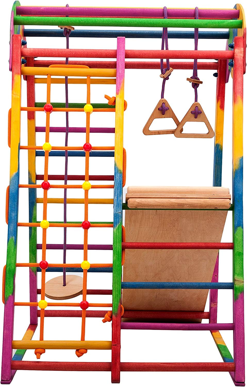 Indoor-Spielplatz aus Holz f/ür Kinder Tr/ägt bis zu 60 kg schwedische Leiter Rutsche F/ördert die Entwicklung RINAGYM Kletterdreieck Ideal f/ür 1 bis 5 Jahre Ringe Kletternetz