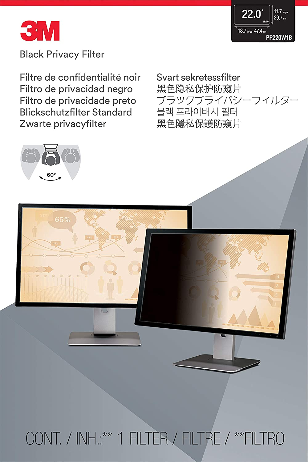 "3M Privacy Filter for 22"" Widescreen Monitor (16:10) (PF220W1B)"