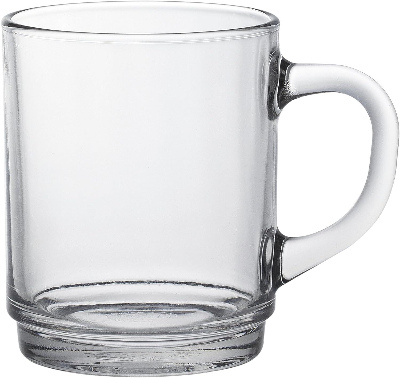 Duralex 4020AR06/6 Versailles Glass Mug, 9.125 oz, Clear