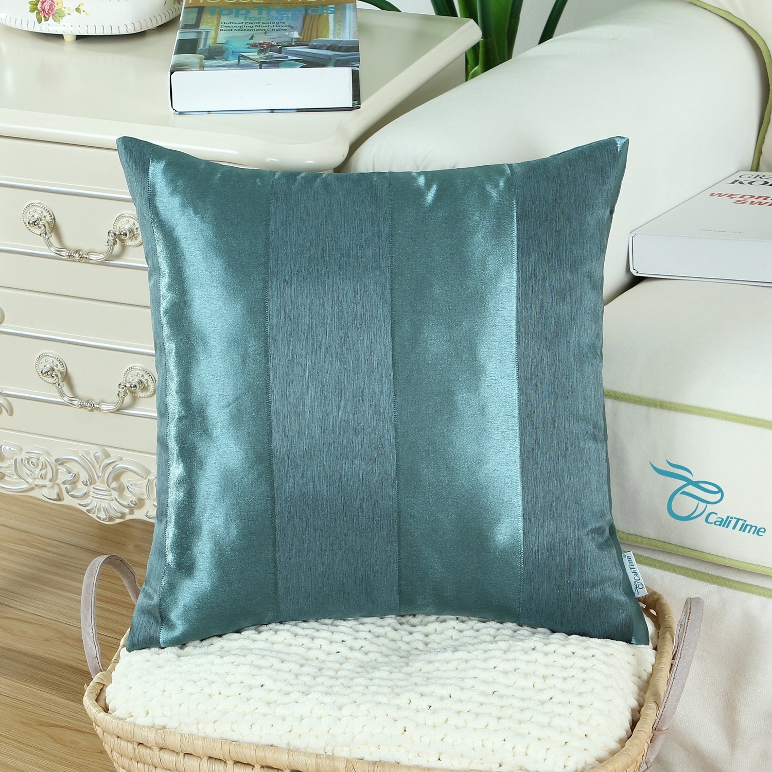 CaliTime Pack of 2 Cushion Covers Throw Pillow Cases Shells for Couch Sofa Home Decoration Modern Shining /& Dull Contrast Striped 18 X 18 Inches Light Blue