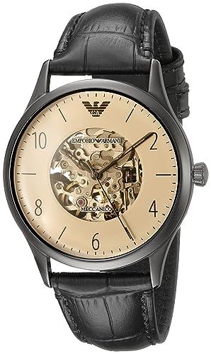 Emporio Armani Reloj Esqueleto para Hombre de Automático con Correa en Cuero AR1923: Amazon.es: Relojes