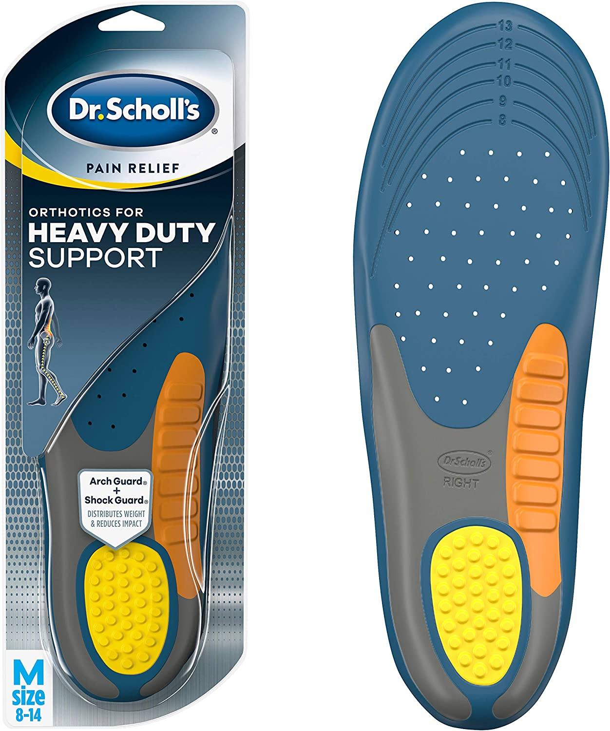 Dr. Scholl's HEAVY DUTY SUPPORT Pain Relief Orthotics // Designed for Men over 200lbs with Technology to Distribute Weight and Absorb Shock with Every Step (for Men's 8-14): Health & Personal Care