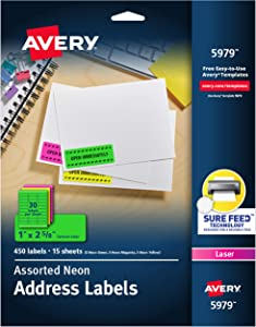 """Avery Neon Address Labels with Sure Feed for Laser Printers, 1"""" x 2 5/8"""", Assorted Colors, 450 Labels (5979)"""
