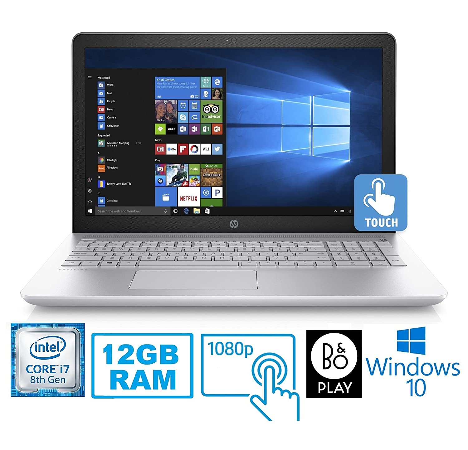 """Amazon.com: HP Pavilion 15-CC Intel Core i7-8850U 12GB 1TB HDD 15.6"""" FHD Touch Screen Laptop (Certified Refurbished): Computers & Accessories"""