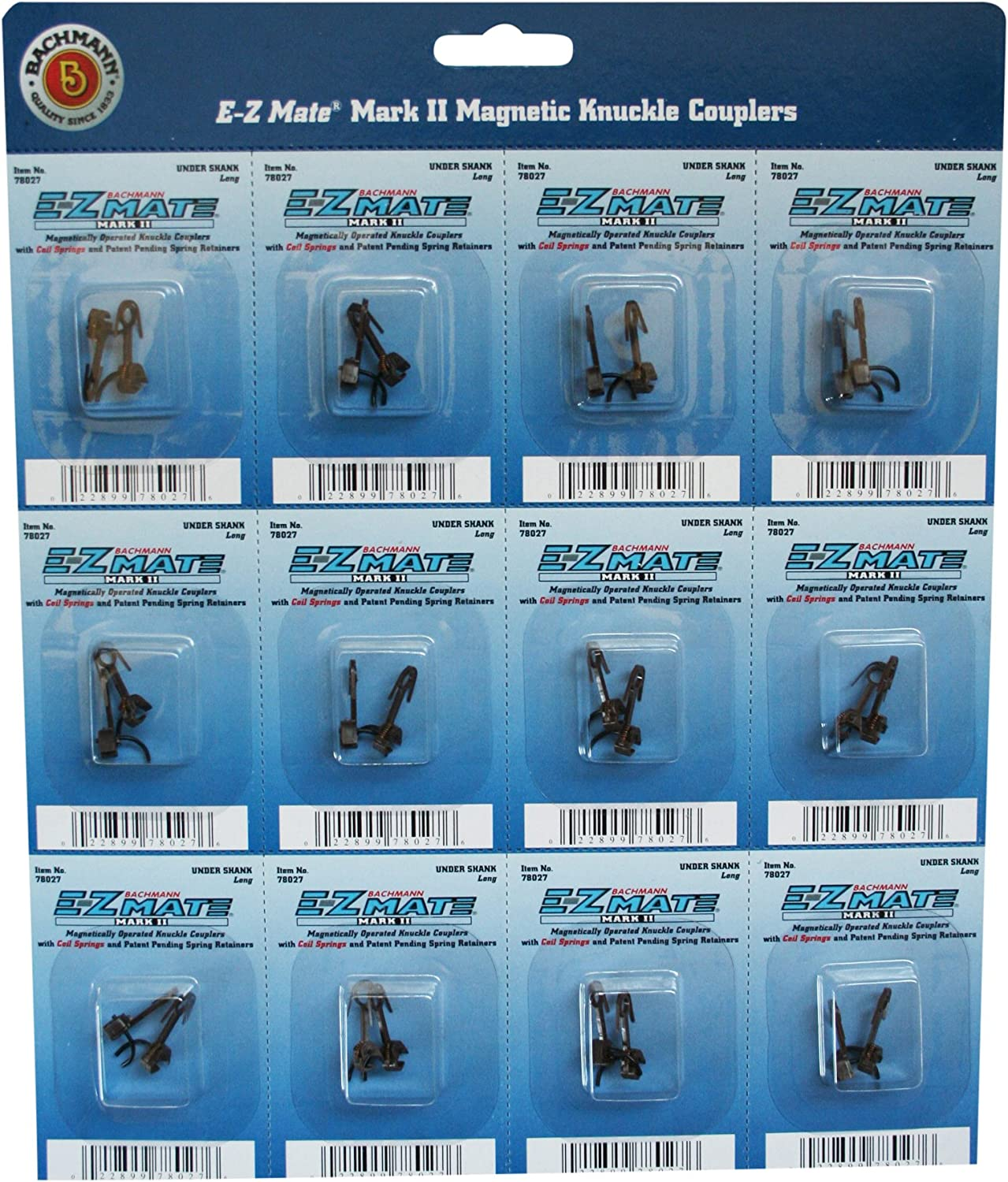 B0006O84J4 Bachmann Trains E - Z Mate Mark II Magnetic Knuckle Couplers with Metal Coil Spring - Under Shank - Long (12 Coupler pairs per card) - HO Scale 81jEPykvnQL