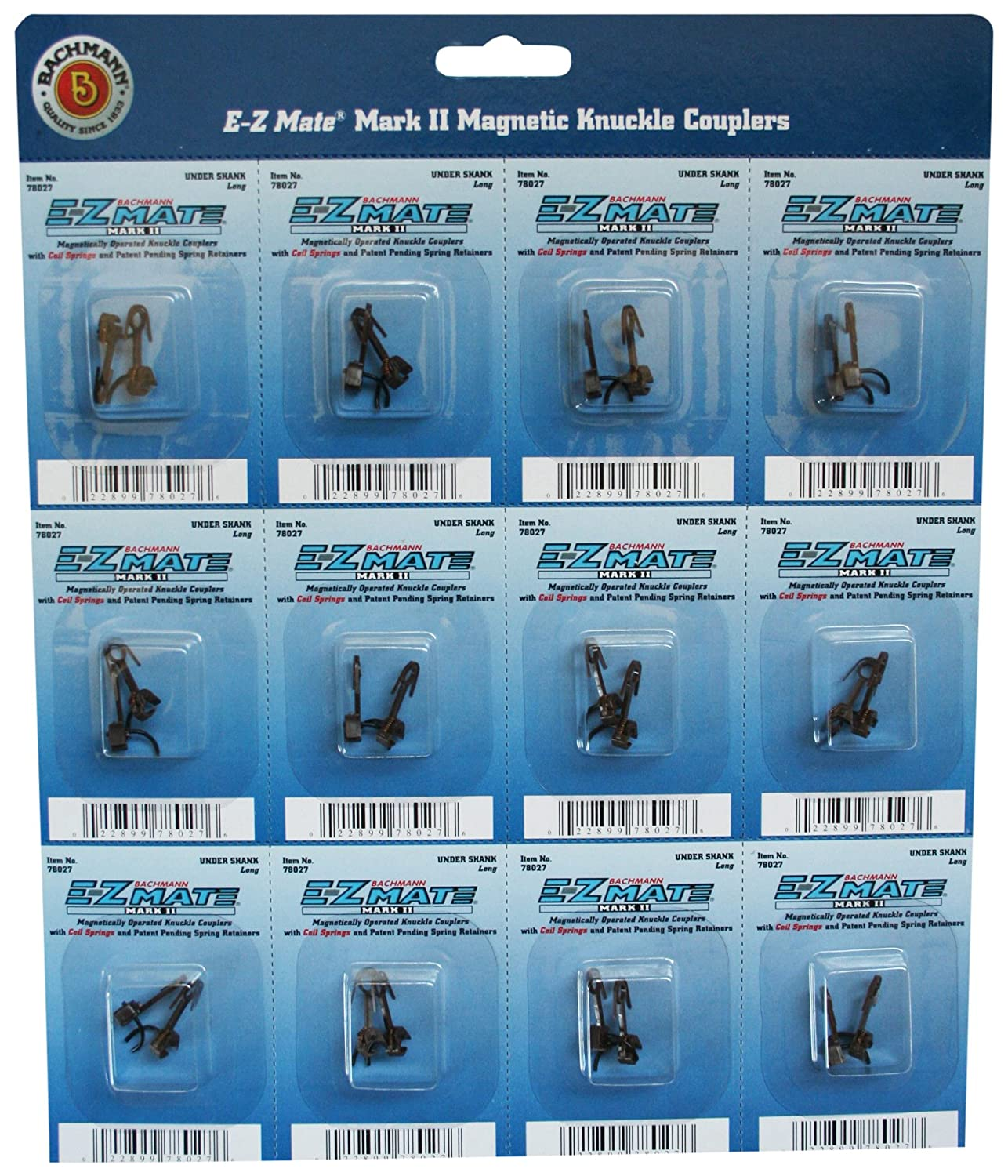 - HO Scale Bachmann Industries Inc Z Mate Mark II Magnetic Knuckle Couplers with Metal Coil Spring Under Shank 12 Coupler pairs per card Long 78027 Bachmann Trains E