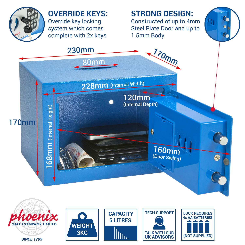 Llave plana, Acero, Azul, 230 mm, 170 mm, 170 mm Caja fuerte Phoenix SS0721EBD Acero Azul