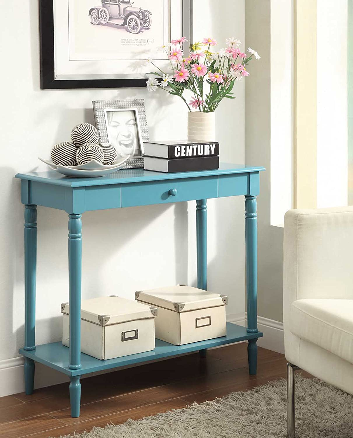 Attractive Amazon.com: Convenience Concepts French Country Hall Table, Blue: Kitchen U0026  Dining