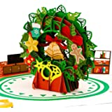 Paper Love Christmas Wreath Pop Up Card, Handmade 3D Popup Greeting Cards for Christmas, Holiday, Xmas Gift