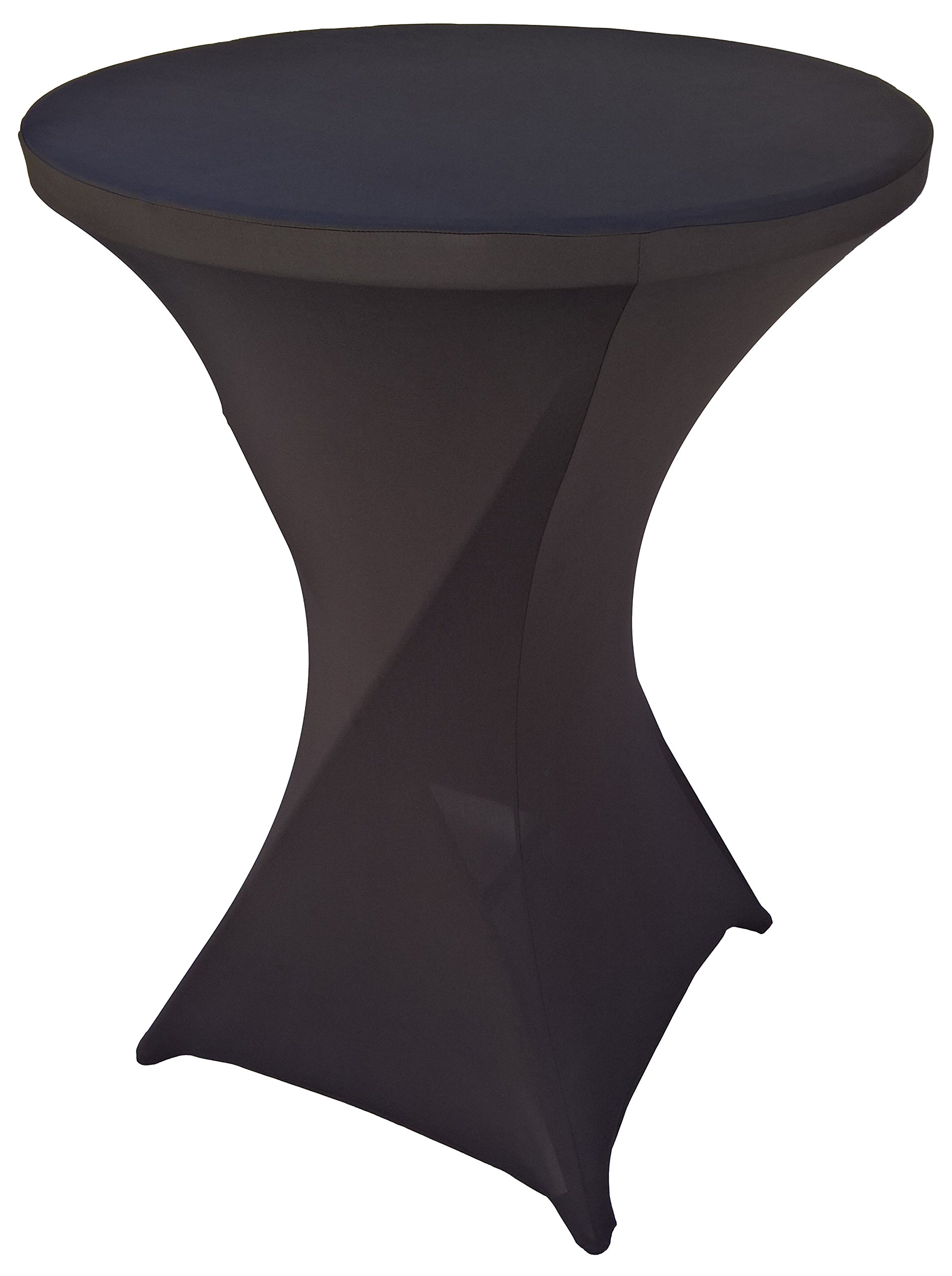 Goldstream Point Black 32 Inch Round x 43 Inch Tall Spandex Cocktail Tablecloth Folding Cover Stretch