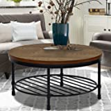 Round Coffee Table, Rustic Wood Surface Top & Sturdy Metal Legs Industrial Sofa Table for Living Room Natural End Table…
