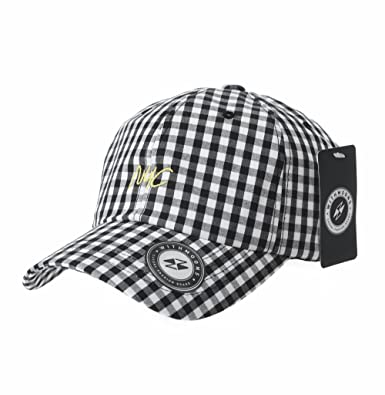 Amazon Withmoons Baseball Cap Simple Gingham Check Nyc