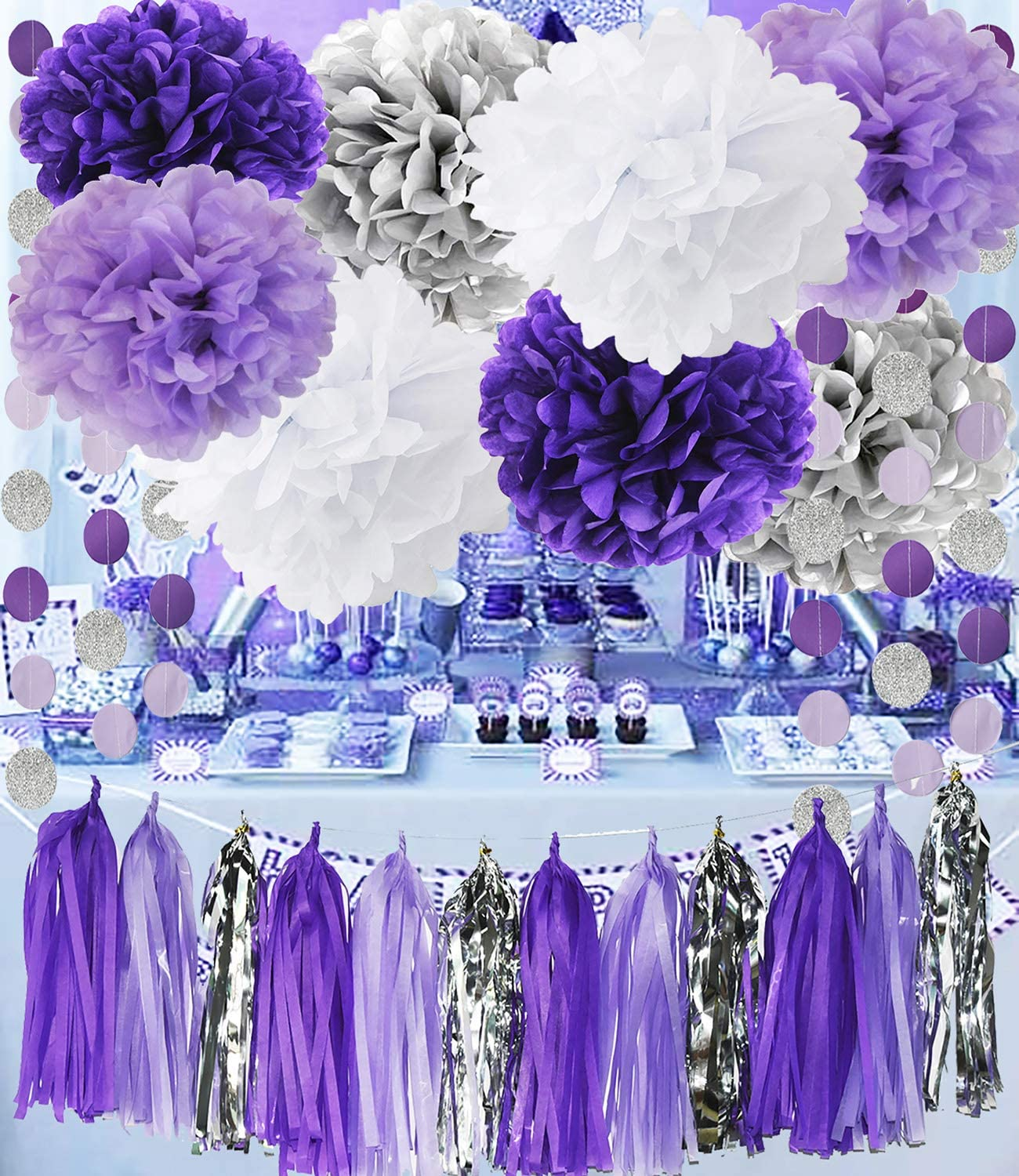 Purple Silver Birthday Decorations for Women Bridal Shower Decorations Purple White Silver Tissue Pom Pom Purple Silver Circle Paper Garland for Baby Shower Decorations/Purple Birthday Decorations