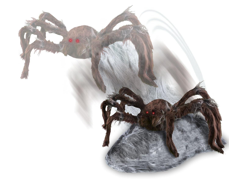 Spirit halloween animatronics jumping spider 21 inch brown for Animated spider halloween decoration