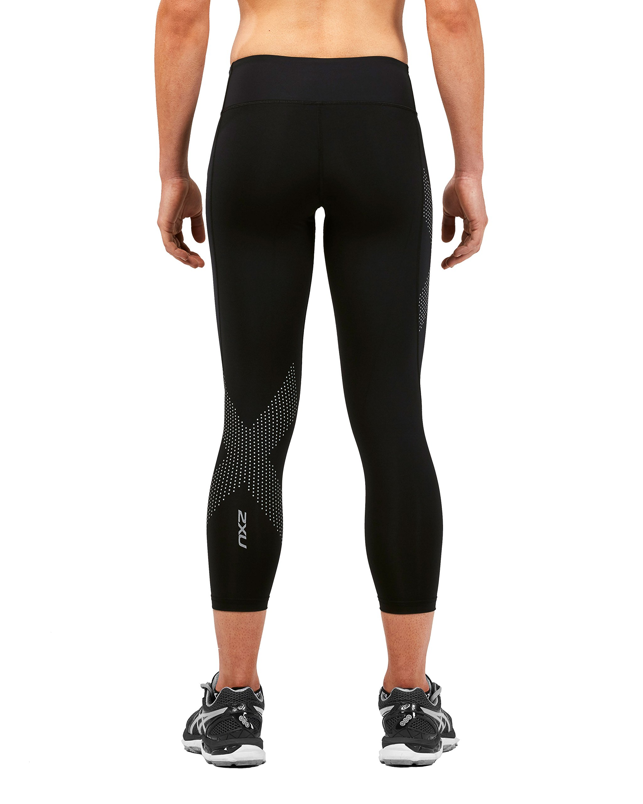 2XU Women's Mid-Rise Compression 7/8 Tights (Black/Dotted Reflective Logo, Small) by 2XU (Image #3)