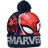 Marvel Boys Spiderman Avengers Beanie Hats or Hat Scarf and Glove Sets (52 cms (Ages 2-4), Blue Spiderman Beanie Hat)