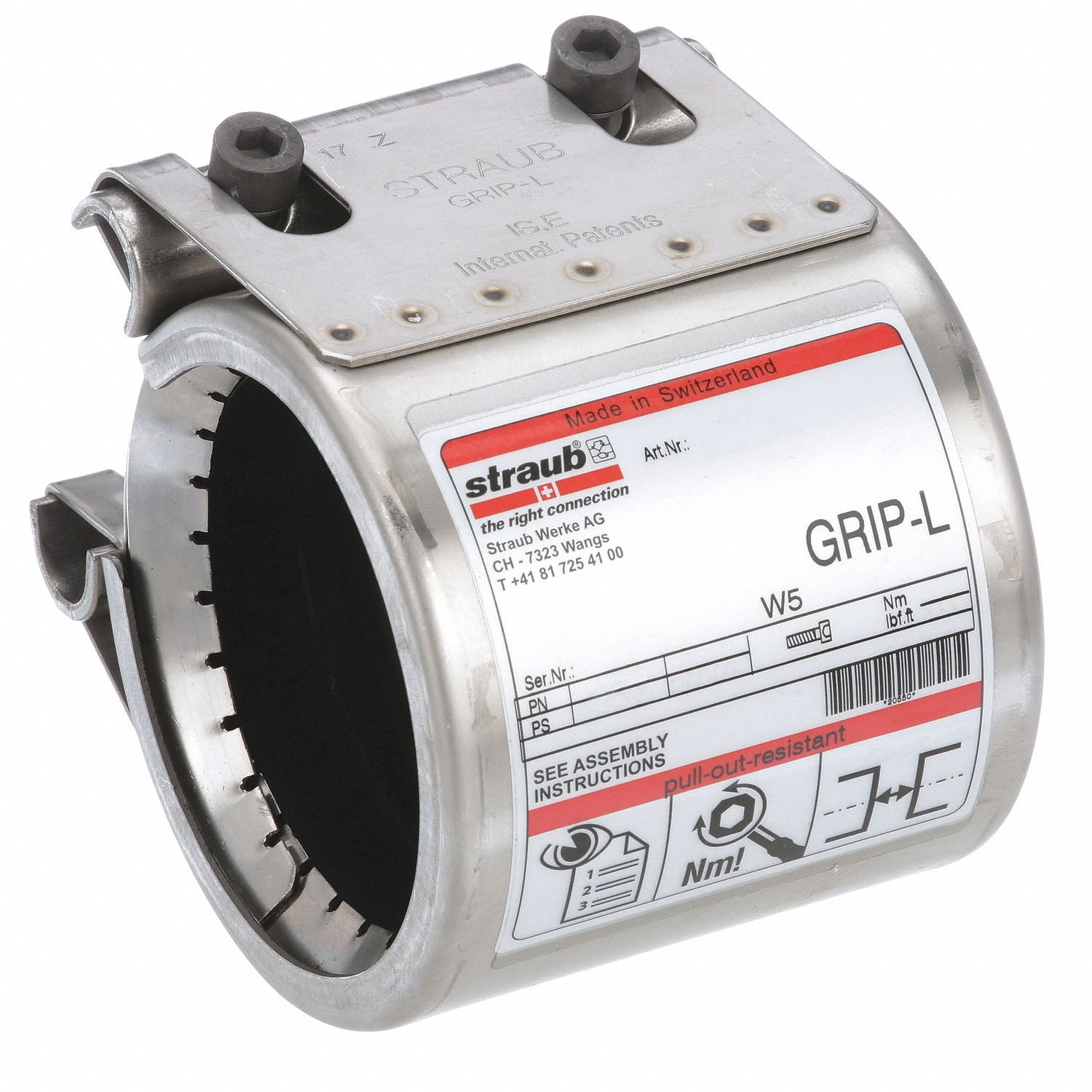 Straub Pipe Coupling, 3'' Pipe Size, 316 Stainless Steel