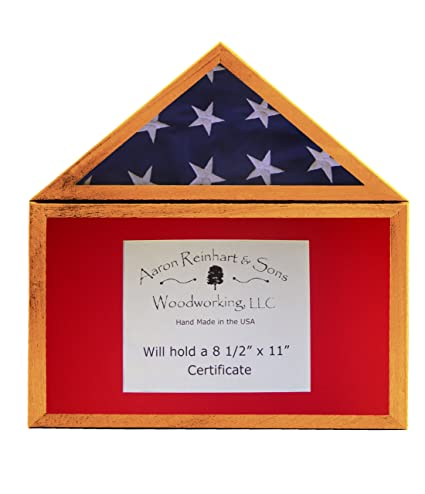 .com: solid african mahogany, flag display case w/ certifiate ...
