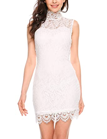 37827d80ca Beyove Women's Sleeveless Cocktail High Neck Lace Dresses for Special  Occasions White S