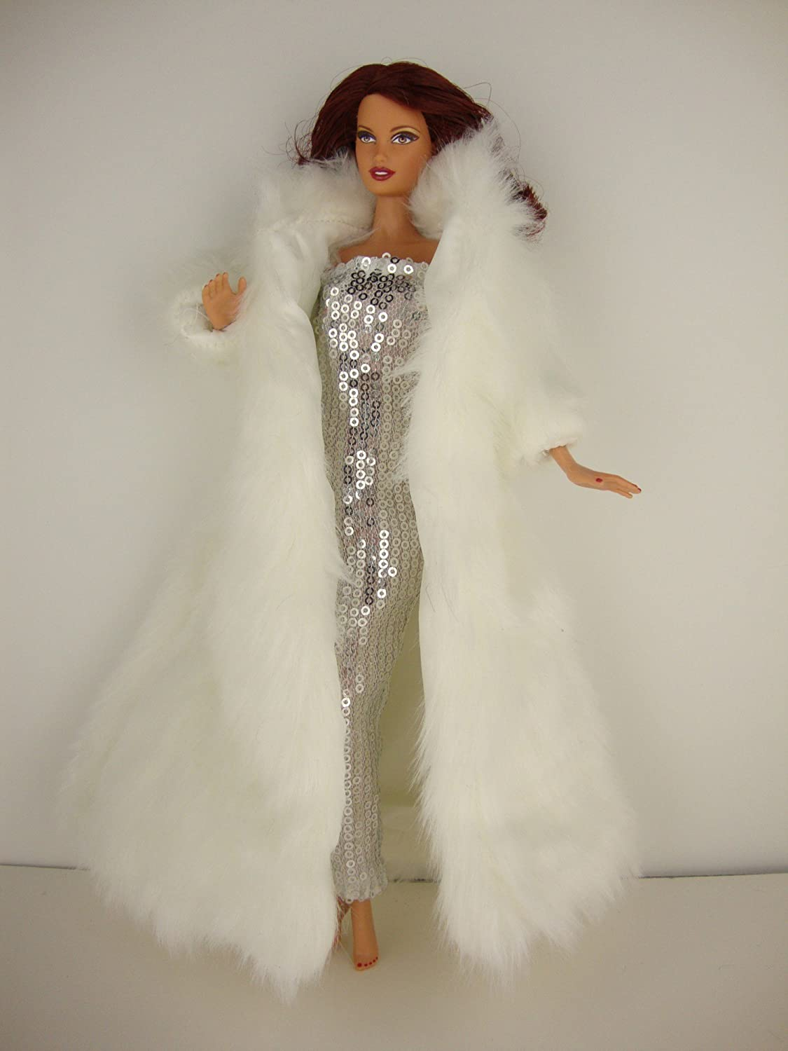 Amazon.com: White Floor Length Fur Coat And White Sequined Fitted Gown Made  For Barbie Doll: Toys U0026 Games