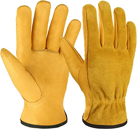 Ladies Beige Leather Work Gloves fully Lined  Driver Farmer Gardening Cold Work