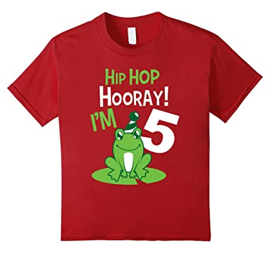 Kids 5th Birthday Boys Frog T Shirt Funny Party 5 Year Old 4 Cranberry