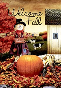 Morigins Welcome Fall Scarecrow Harvest Decorative House Flag Double Sided 28x40,Autumn Pumpkin Garden Yard Decorations
