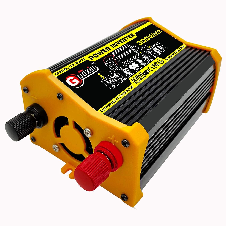 Q300W Nero GUOXIN Power Inverter 12V 220V 300W 500W Inverter Auto Invertitore di Potenza Trasformatore di Potenza Convertitore DC 12V in AC 220V 230V 240V Schermo LCD Display USB Caricatore