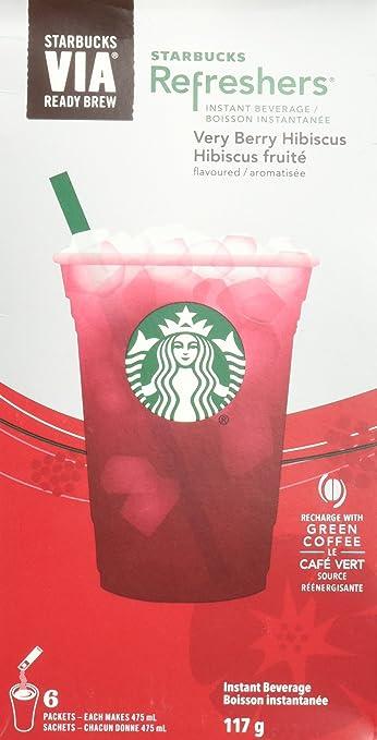Amazoncom Starbucks Via Refreshers Very Berry Hibiscus 6 Packets