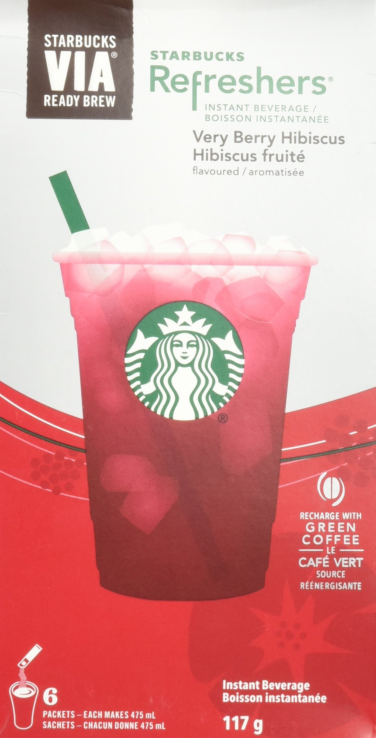 Starbucks VIA Refreshers Very Berry Hibiscus 6 Packets (Pack of 3, 18 Packets Total)