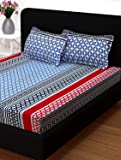 Story@Home Candy 1 Pc Collection 120 TC 100% Cotton Abstract Printed Double Bedsheet 2 Pillow Cover Multi Color