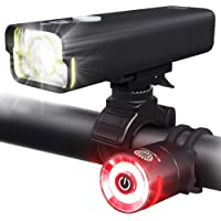 BrightRoad Rechargeable 800 Lumens Bike Light Front and Back Bicycle Lights USB Headlight & Tail Lights IPX6 Waterproof…