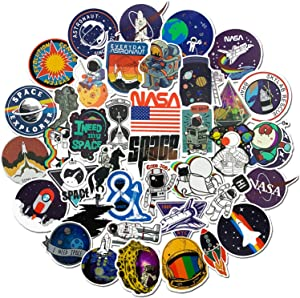 50PCS NASA Stickers for Laptop, Space Explorer Galaxy Vinyl Sticker Decals for Water Bottle, Hydro Flask, Skateboard, Laptop, Computer, Phone