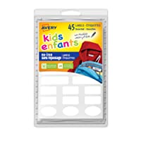 Avery No-Iron Clothing Labels, White, Assorted Shapes, 45 Labels, Permanent (40700)
