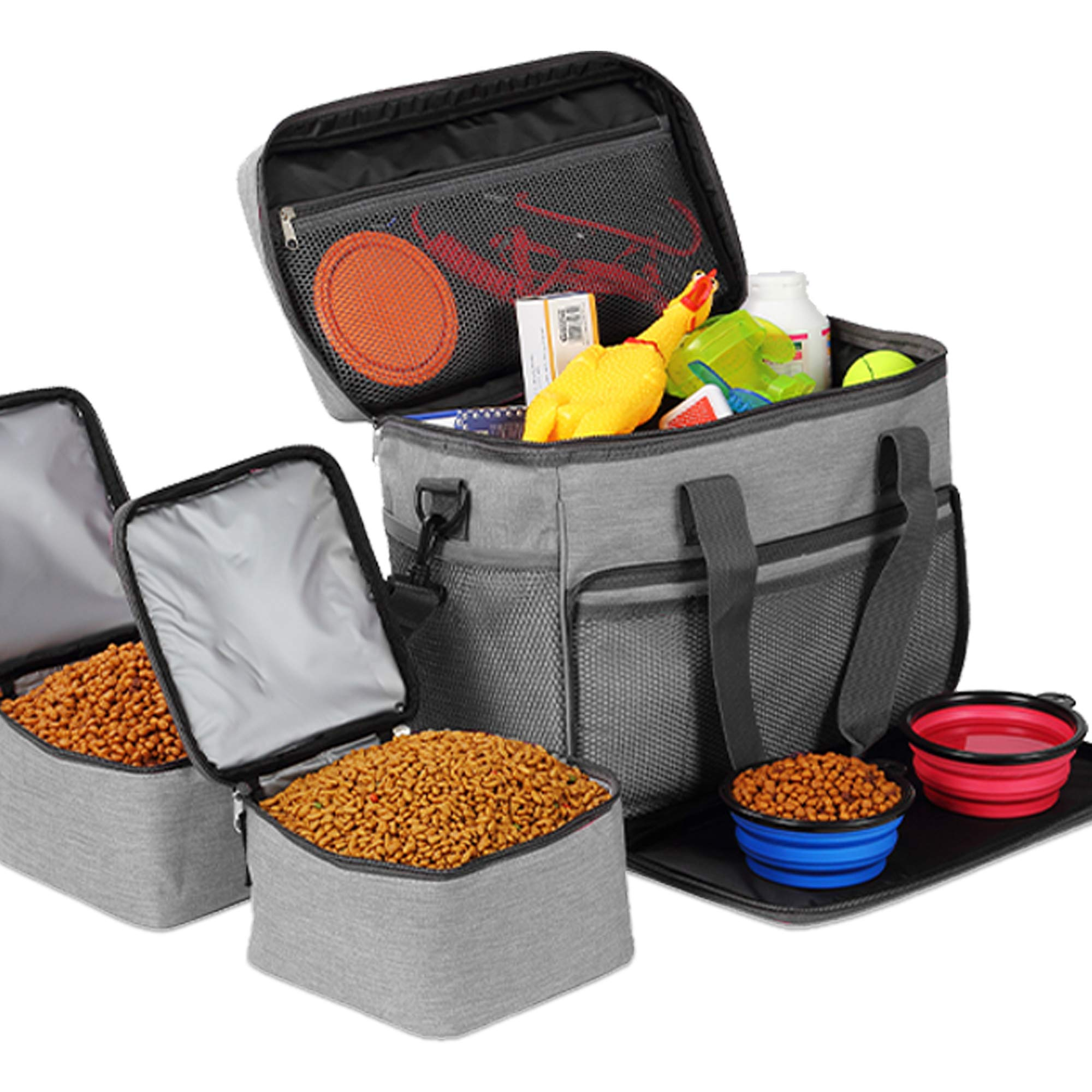 KOPEKS Cat and Dog Travel Bag - Includes 2 Food Carriers, 2 Bowls and Place mat - Airline Approved - Heather Grey by KOPEKS