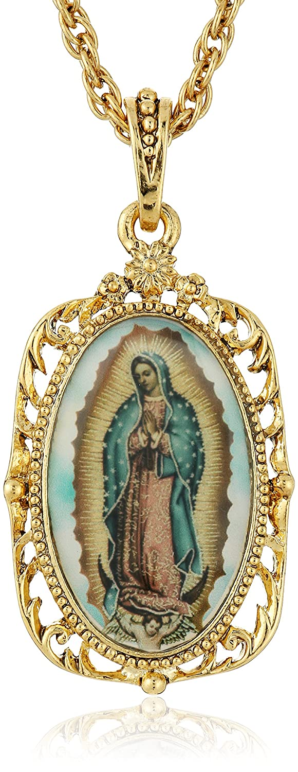 Symbols of Faith Inspirations 14k Gold-Dipped Enamel Lady of Guadalupe Medallion Pendant Necklace 1928 Jewelry 91153