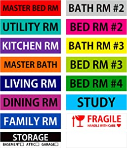 """640 Pcs Removable Home Moving Labels 15 Pre-Printed Color-Coded Plus 1 Customizable Blank (Each Measures 3.9"""" x 0.9"""")"""