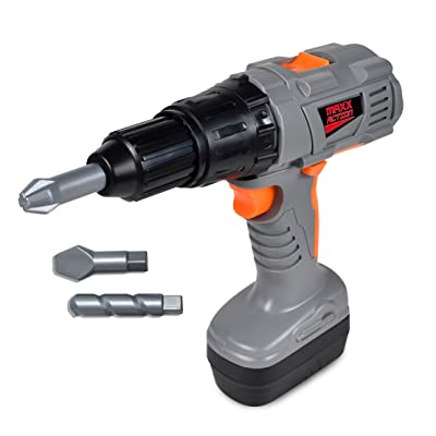 Maxx Action Power Tools Drill – Construction Tool with Interchangeable Bits, Ruler and ID Card | Pretend Play Toy For Kids: Toys & Games