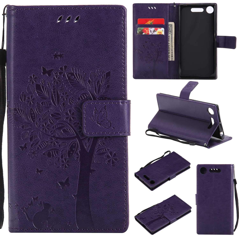 BoxTii® Coque Sony Xperia XZ1 [avec Gratuit Protection D'écran en Verre Trempé], Sony Xperia XZ1 Housse Coque, Etui pour Sony Xperia XZ1 (#9 Violet) BOFR13-SNXZ1-I09